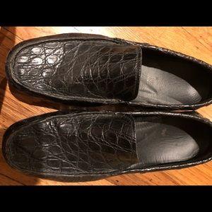 Prada dark Grey Crocodille Loafers (men's).